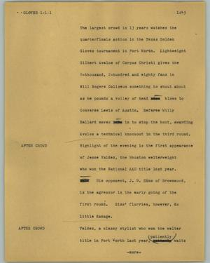 Primary view of object titled '[News Script: Gloves]'.