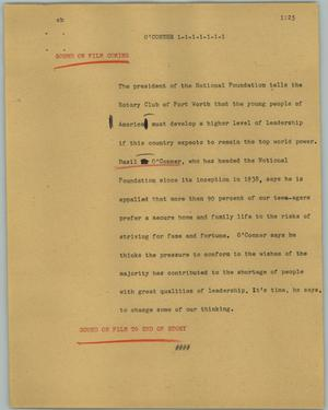 Primary view of object titled '[News Script: O' Conner]'.