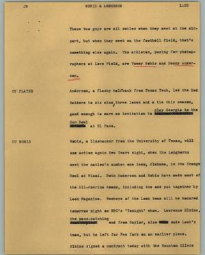Primary view of object titled '[News Script: Nobis & Anderson]'.