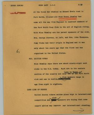 Primary view of object titled '[News Script: Hoss lady]'.
