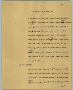 Primary view of object titled '[News Script: Two alarm fire]'.