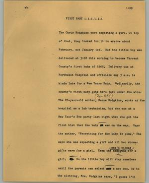 Primary view of object titled '[News Script: First baby]'.