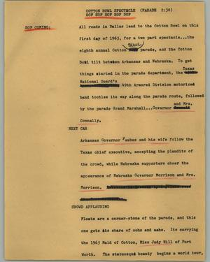 Primary view of object titled '[News Script: Cotton Bowl spectacle]'.