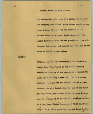 Primary view of object titled '[News Script: Traffic fatal]'.