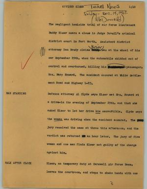 Primary view of object titled '[News Script: Officer Kiser]'.
