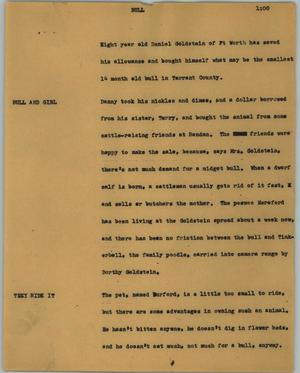 Primary view of object titled '[News Script: Bull]'.