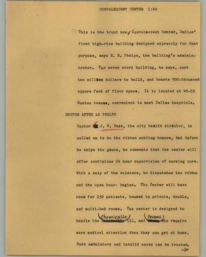 Primary view of object titled '[News Script: Convalescent center]'.