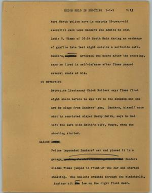 Primary view of object titled '[News Script: Excon Held In Shooting]'.