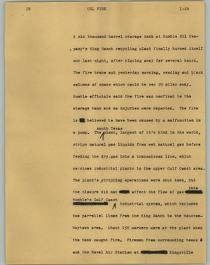 Primary view of object titled '[News Script: Oil fire]'.