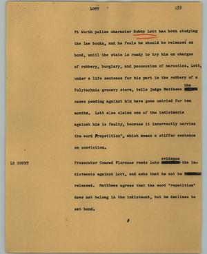 Primary view of object titled '[News Script: Lott]'.