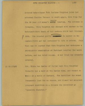 Primary view of object titled '[News Script: Ruth Knighten hearing]'.