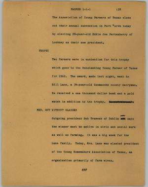 Primary view of object titled '[News Script: Farmer]'.
