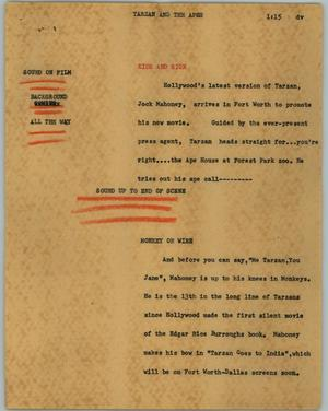Primary view of object titled '[News Script: Tarzan and the apes]'.