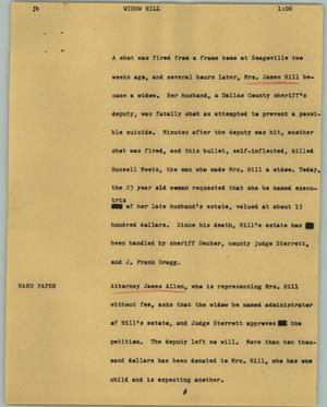 Primary view of object titled '[News Script: Widow Hill]'.