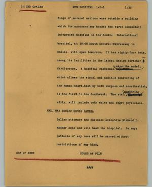 Primary view of object titled '[News Script: New hospital]'.