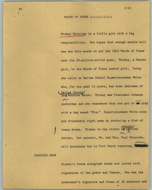 Primary view of object titled '[News Script: March of Dimes]'.