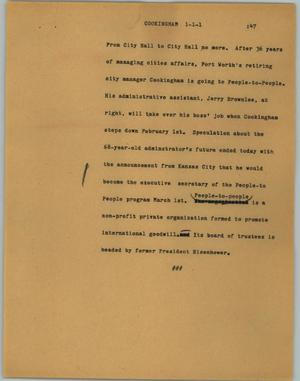Primary view of object titled '[News Script: Cookingham]'.