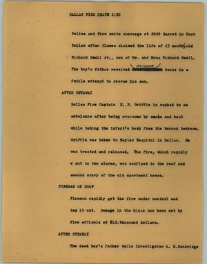 Primary view of object titled '[News Script: Dallas fire death]'.