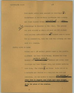 Primary view of object titled '[News Script: Disturbance]'.