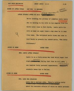 Primary view of object titled '[News Script: Jerry Lewis]'.