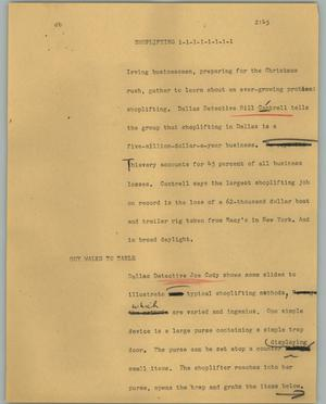 Primary view of object titled '[News Script: Shoplifting]'.