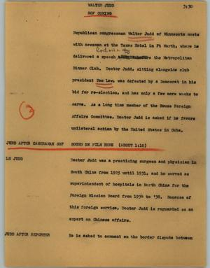 Primary view of object titled '[News Script: Walter Judd]'.