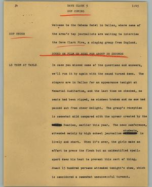 Primary view of object titled '[News Script: Dave Clark]'.