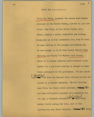 Primary view of object titled '[News Script: Billy Sol]'.