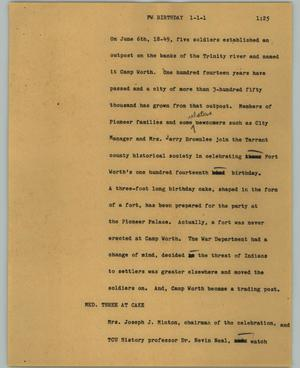 Primary view of object titled '[News Script: FW. birthday]'.