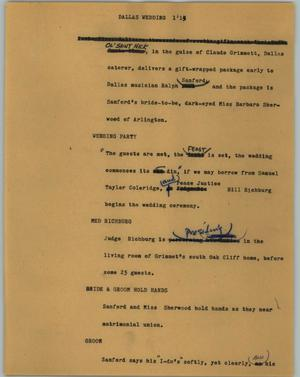 Primary view of object titled '[News Script: Dallas wedding]'.
