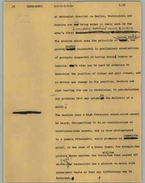 Primary view of object titled '[News Script: Ultrasonic]'.