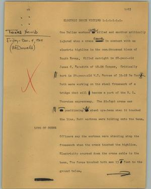 Primary view of object titled '[News Script: Electric shock victims]'.