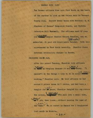 Primary view of object titled '[News Script: Kansas cops]'.