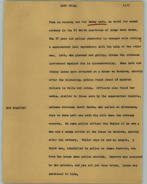Primary view of object titled '[News Script: Lott trial]'.