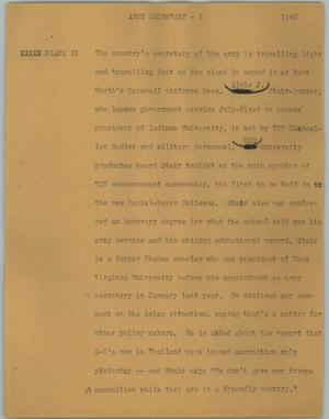 Primary view of object titled '[News Script: Army secretary]'.