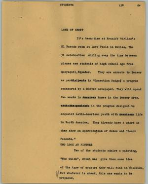 Primary view of object titled '[News Script: Students]'.