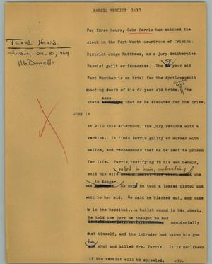 Primary view of object titled '[News Script: Parris verdict]'.