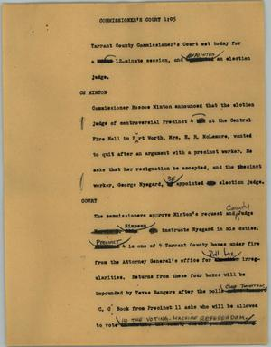 Primary view of object titled '[News Script: Commissioner's court]'.