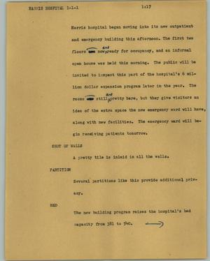Primary view of object titled '[News Script: Harris Hospital]'.