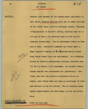 Primary view of object titled '[News Script: Caufield]'.