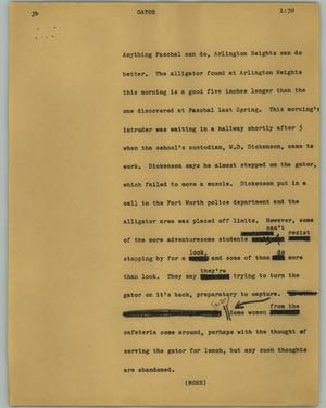Primary view of object titled '[News Script: Gator]'.