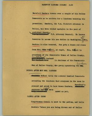 Primary view of object titled '[News Script: Barefoot Sanders (color)]'.