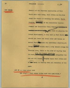 Primary view of object titled '[News Script: Publisher]'.