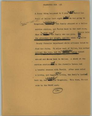 Primary view of object titled '[News Script: Abandoned kid]'.