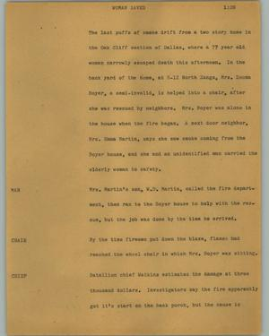 Primary view of object titled '[News Script: Woman saved]'.