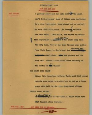 Primary view of object titled '[News Script: Wilmer fire]'.