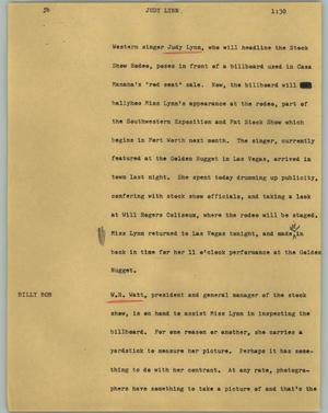 Primary view of object titled '[News Script: Judy Lynn]'.