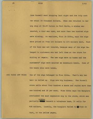 Primary view of object titled '[News Script: Wigs]'.