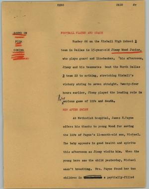 Primary view of object titled '[News Script: Football hero]'.