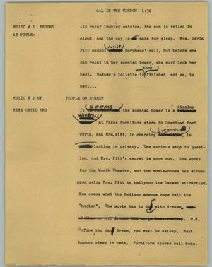 Primary view of object titled '[News Script: Gal in the window]'.